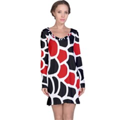 Red, black and white abstraction Long Sleeve Nightdress