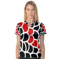 Red, black and white abstraction Women s V-Neck Sport Mesh Tee