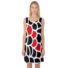 Red, black and white abstraction Sleeveless Satin Nightdress