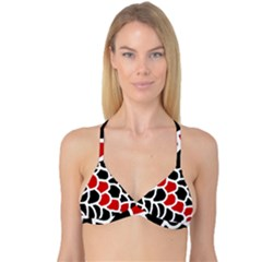 Red, black and white abstraction Reversible Tri Bikini Top