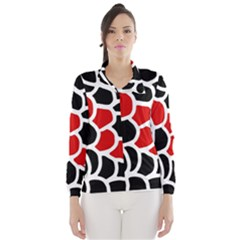 Red, black and white abstraction Wind Breaker (Women)