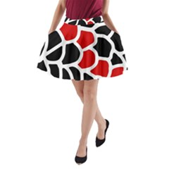 Red, black and white abstraction A-Line Pocket Skirt