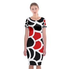 Red, black and white abstraction Classic Short Sleeve Midi Dress