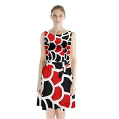 Red, Black And White Abstraction Sleeveless Waist Tie Dress