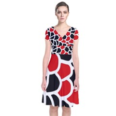 Red, black and white abstraction Short Sleeve Front Wrap Dress