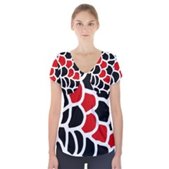 Red, black and white abstraction Short Sleeve Front Detail Top