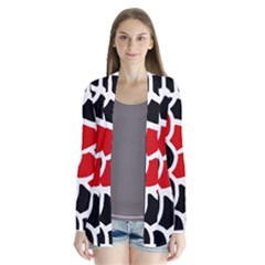 Red, black and white abstraction Drape Collar Cardigan