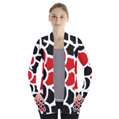 Red, black and white abstraction Women s Open Front Pockets Cardigan(P194)