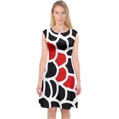 Red, Black And White Abstraction Capsleeve Midi Dress