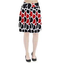 Red, black and white abstraction Pleated Skirt