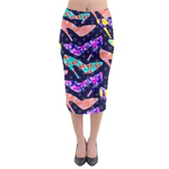 Colorful High Heels Pattern Midi Pencil Skirt
