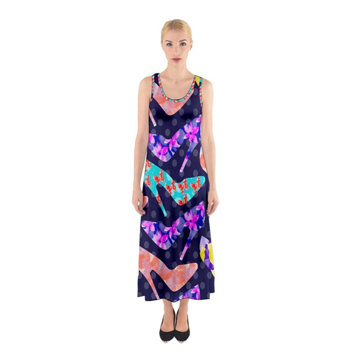 Colorful High Heels Pattern Sleeveless Maxi Dress