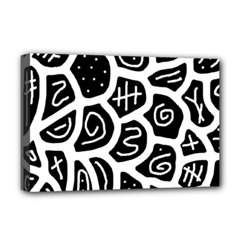 Black and white playful design Deluxe Canvas 18  x 12