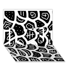 Black and white playful design I Love You 3D Greeting Card (7x5)