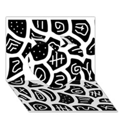 Black and white playful design Heart 3D Greeting Card (7x5)