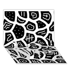Black and white playful design LOVE Bottom 3D Greeting Card (7x5)