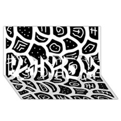 Black and white playful design #1 MOM 3D Greeting Cards (8x4)