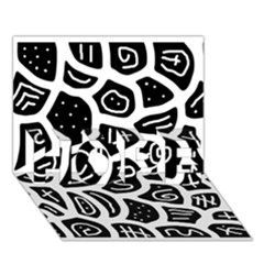 Black and white playful design HOPE 3D Greeting Card (7x5)