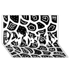 Black and white playful design #1 DAD 3D Greeting Card (8x4)