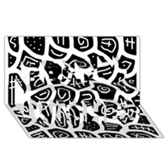 Black and white playful design Best Wish 3D Greeting Card (8x4)