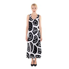Black and white playful design Sleeveless Maxi Dress