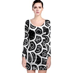 Black and white playful design Long Sleeve Bodycon Dress