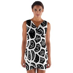 Black And White Playful Design Wrap Front Bodycon Dress