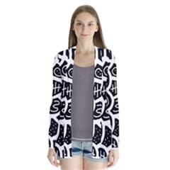 Black and white playful design Drape Collar Cardigan
