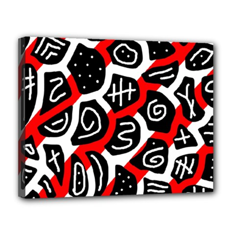 Red playful design Canvas 14  x 11