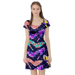 Colorful High Heels Pattern Short Sleeve Skater Dress