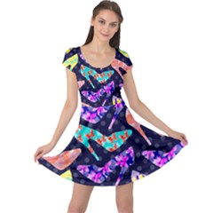 Colorful High Heels Pattern Cap Sleeve Dress