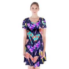 Colorful High Heels Pattern Short Sleeve V-neck Flare Dress