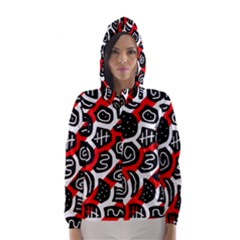 Red playful design Hooded Wind Breaker (Women)