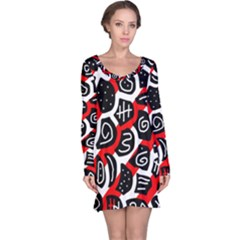 Red playful design Long Sleeve Nightdress