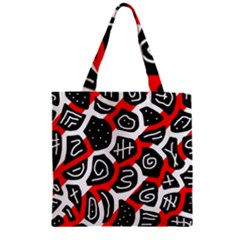 Red playful design Zipper Grocery Tote Bag