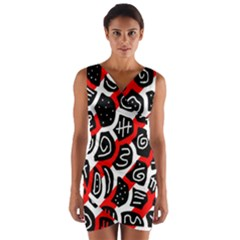 Red playful design Wrap Front Bodycon Dress