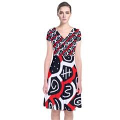 Red playful design Short Sleeve Front Wrap Dress