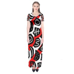 Red Playful Design Short Sleeve Maxi Dress