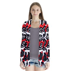 Red playful design Drape Collar Cardigan