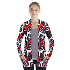 Red playful design Women s Open Front Pockets Cardigan(P194)
