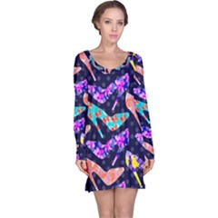 Colorful High Heels Pattern Long Sleeve Nightdress