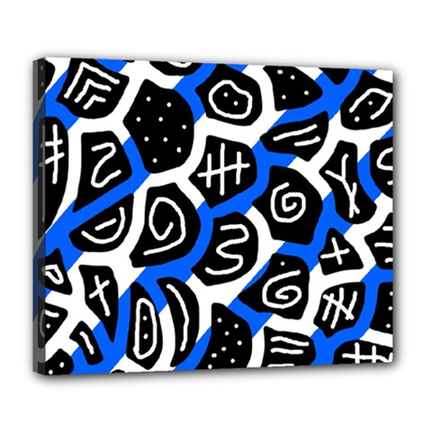 Blue playful design Deluxe Canvas 24  x 20