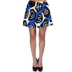 Blue playful design Skater Skirt