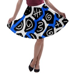 Blue playful design A-line Skater Skirt