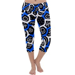 Blue playful design Capri Yoga Leggings