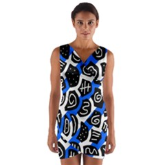Blue playful design Wrap Front Bodycon Dress