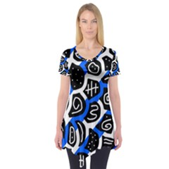 Blue playful design Short Sleeve Tunic