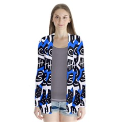 Blue playful design Drape Collar Cardigan