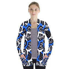 Blue playful design Women s Open Front Pockets Cardigan(P194)