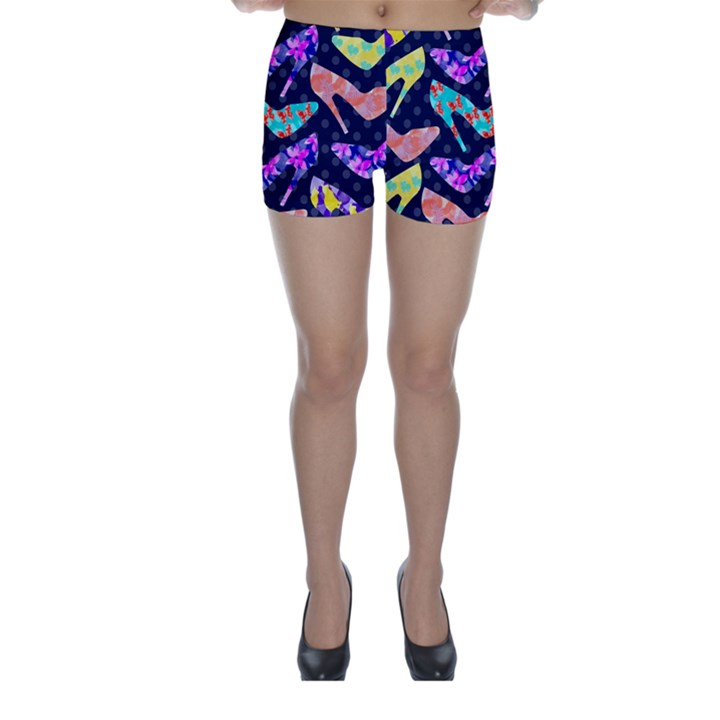 Colorful High Heels Pattern Skinny Shorts